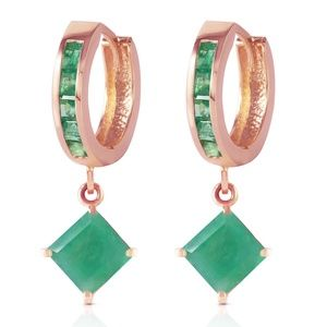 14K SOLID GOLD HOOP EARRING WITH DANGLING EMERALDS